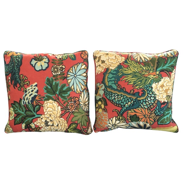 Schumacher Chiang Mai Dragon Pillows - A Pair - Image 1 of 8