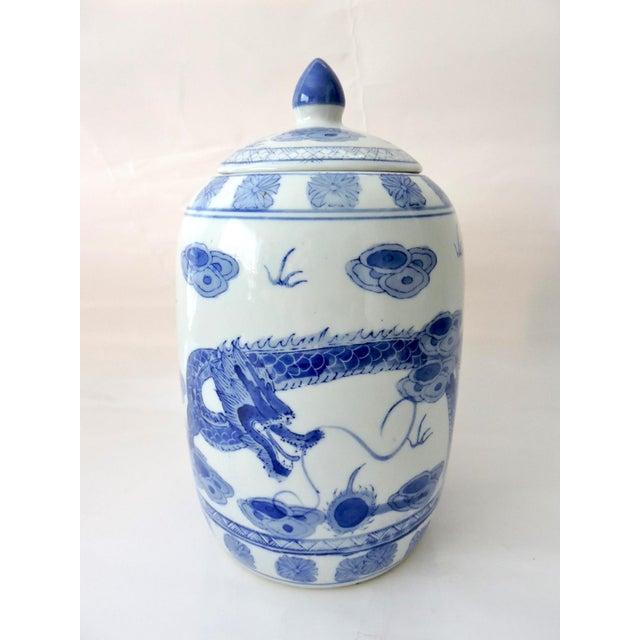 'Flying Dragon' Blue & White Ginger Jar - Image 3 of 6