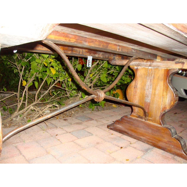 Pedestal Wrought Iron Pesky Cypress Dining Table For Sale In Miami - Image 6 of 9