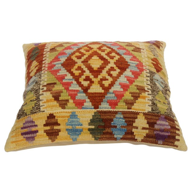 "Asian Christin Gold/Lt. Blue Hand-Woven Kilim Throw Pillow(18""x18"") For Sale - Image 3 of 6"