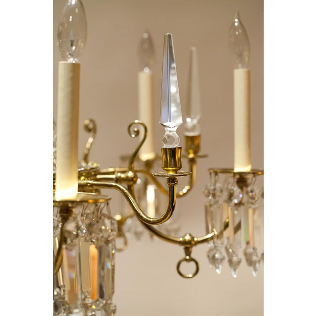 Brass and Crystal Gasolier For Sale - Image 10 of 13