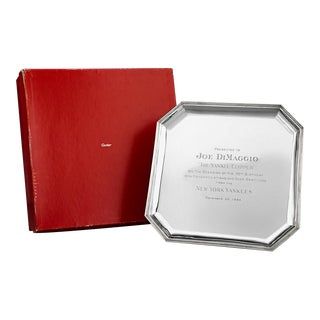 Joe DiMaggio Silver Presentation Tray By Cartier