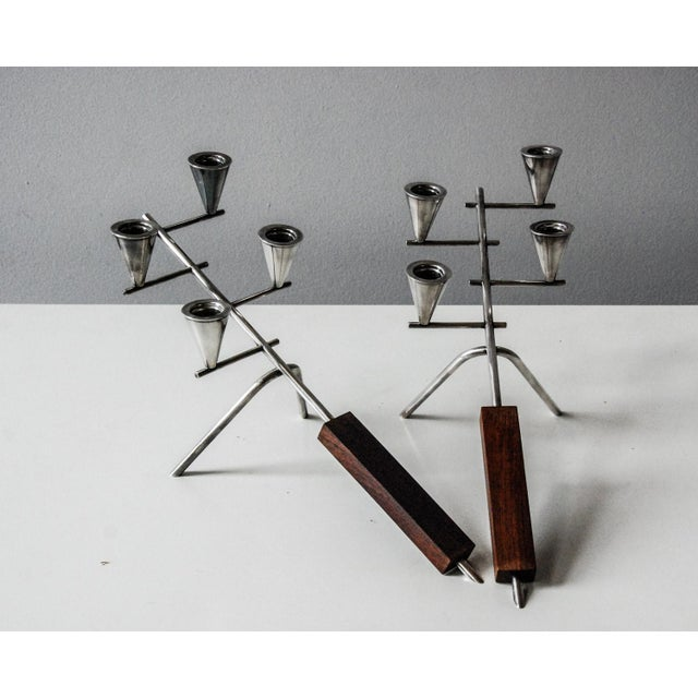 Brown 1960 Carl Christiansen Silverplate and Rosewood Candleholders Denmark - Pair For Sale - Image 8 of 11