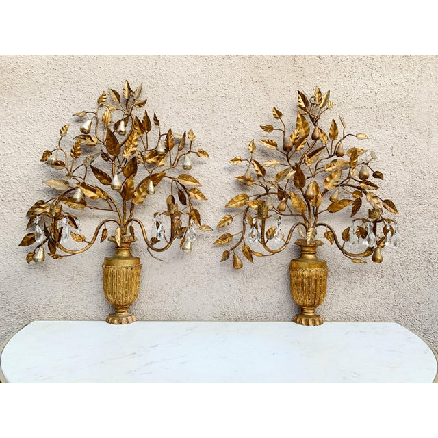 Hollywood Regency Hollywood Regency Giltwood Wall Sconces - a Pair For Sale - Image 3 of 12