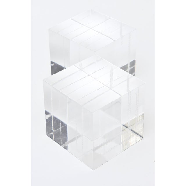Modern Lucite Square Cube Bookends Vintage 70's Pair Of For Sale - Image 3 of 9