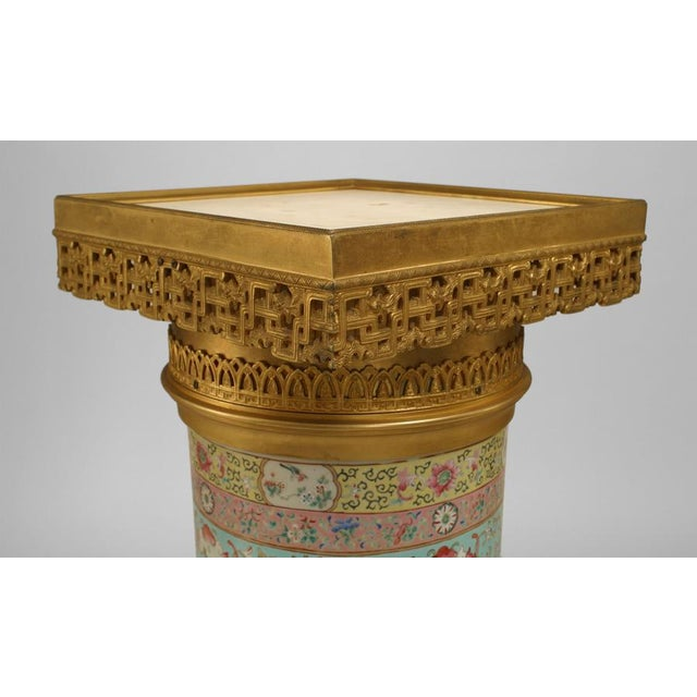 Pair of English Regency Style Turquoise Chinese Porcelain Pedestals For Sale - Image 9 of 11