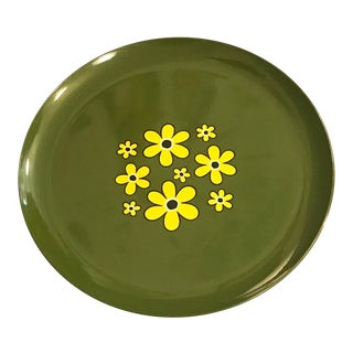 Mid-Century Modern Round Tray With Daisies