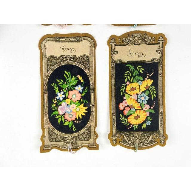 Art Nouveau Die Cut Vintage 1930's Floral Baroque Bridge Tally Cards - Set of 4 For Sale - Image 3 of 5