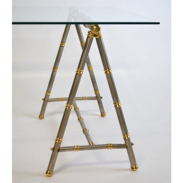 Maison Jansen Style Steel and Brass Coffee Table For Sale - Image 4 of 6