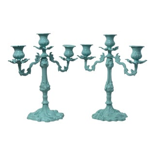 Vintage Blue Iron Candelabras - a Pair For Sale