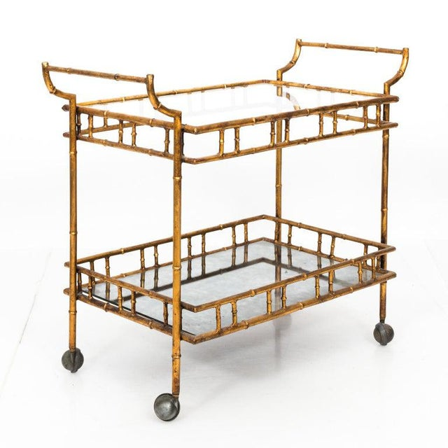 Hollywood Regency 1950s Hollywood Regency Faux Bamboo Bar Cart For Sale - Image 3 of 8