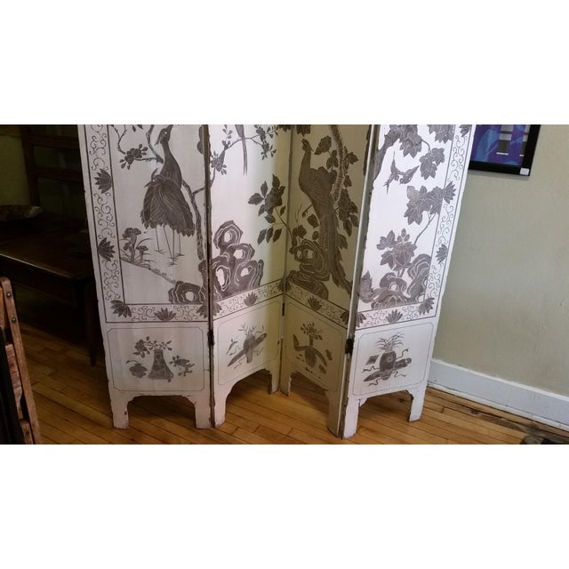 1920s Antique Chinese Gesso Screen Room Divider For Sale - Image 4 of 13