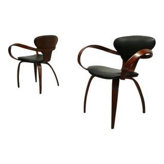 Plycraft Norman Cherner Paul Goldman Bentwood Walnut Pretzel Chairs - a Pair
