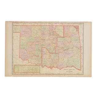 Cram's 1907 Map of Oklahoma For Sale
