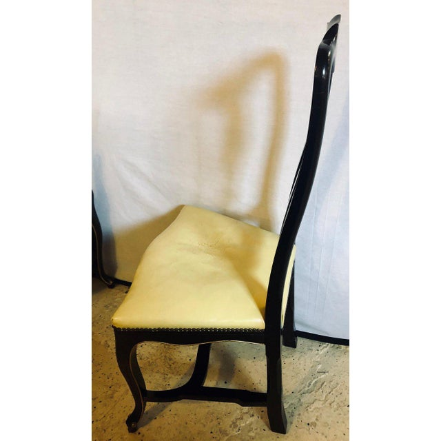 Wood Set of Eight Queen Anne Ebonized and Gilt Decorated Dining Chairs For Sale - Image 7 of 13