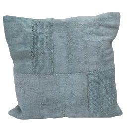 Square Denim Blue Kilim Cushion For Sale