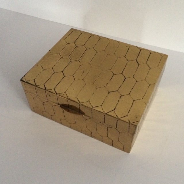 Honeycomb Pattern Brass Box - Image 3 of 6