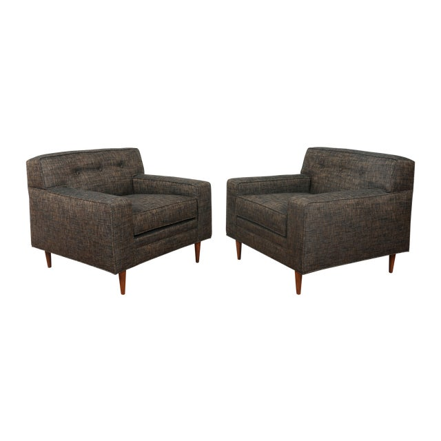 Gray Cubed Lounge Chairs- A Pair - Image 1 of 10