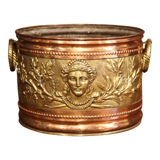 19th Century French Copper and Brass Circular Basket with Repousse Decorations For Sale