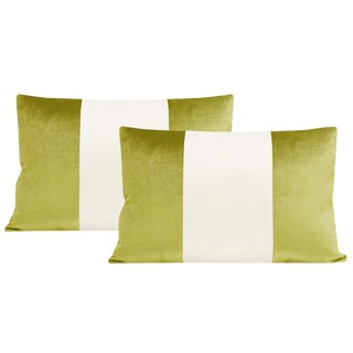 "12""x18"" Chartreuse Velvet & Alabaster Silk Panel Lumbar Pillows - a Pair For Sale"