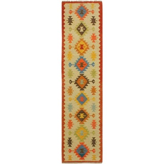 Natania Ivory/Rust Hand-Woven Kilim Wool Rug -2'6 X 9'7 For Sale
