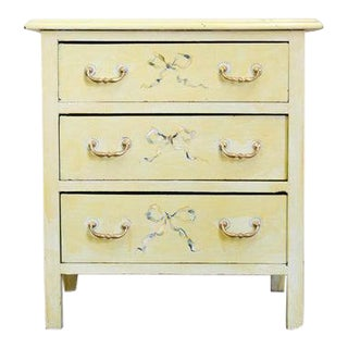 Early 20th Century Painted Pastel Yellow with Fruit Three Drawer Chest For Sale