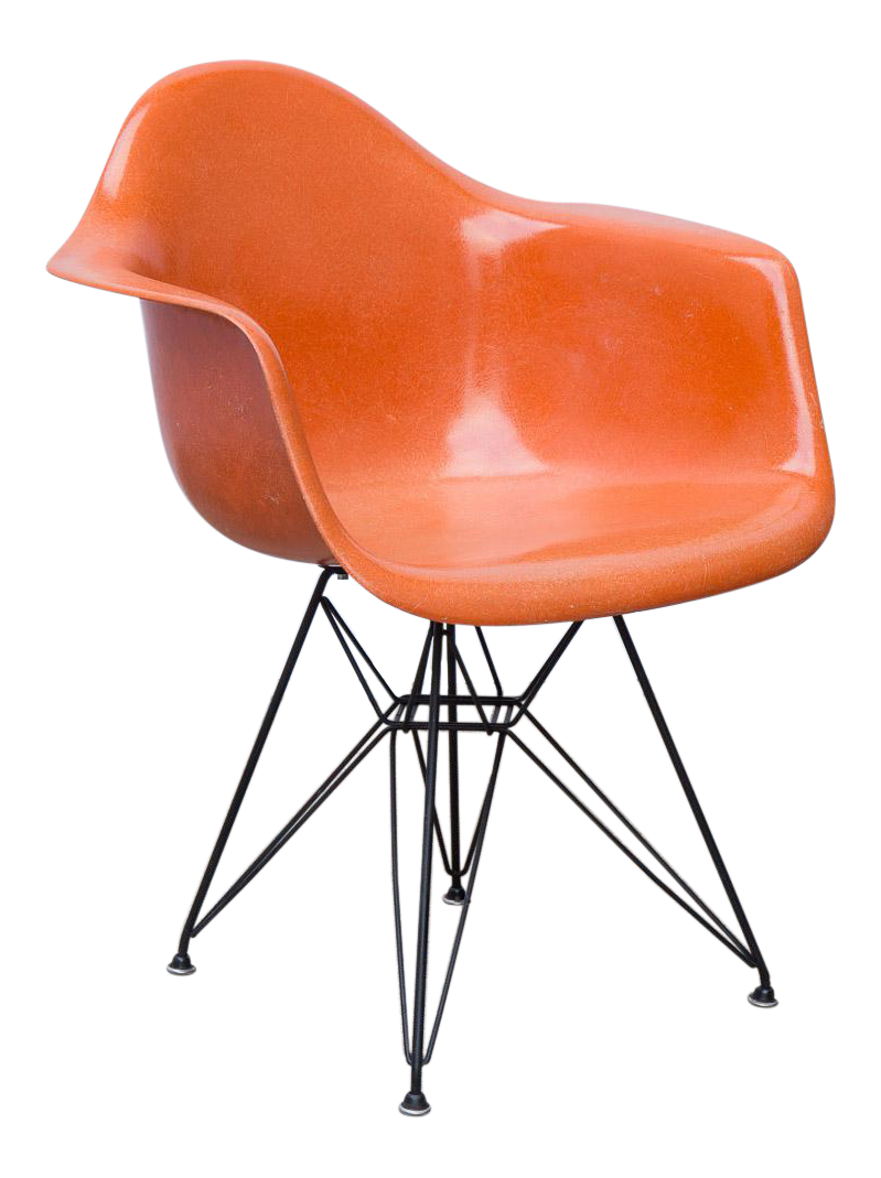 Eames Molded Fiberglass Armchair In Orange For Sale