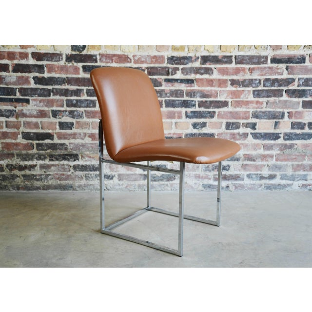 Mid-Century Modern Vintage Mid-Century Milo Baughman Chrome & Upholstered Side Chairs - A Pair For Sale - Image 3 of 6