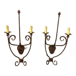 Tall Bronze-Toned Two Candle Electric Sconces - a Pair