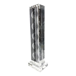 Victor Vasarely Lucite Op Art Moire Tower Sculpture For Sale