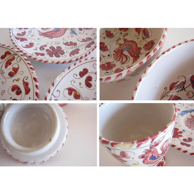 Vintage Pv Italy Orvieto Red Rooster 10 Place Settings Dinnerware Set - 70 Pieces For Sale - Image 12 of 13
