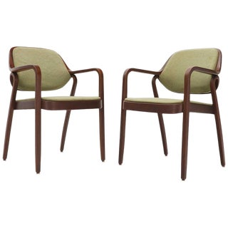 Pair of Bent Walnut Wood Dining Chairs by Knoll For Sale