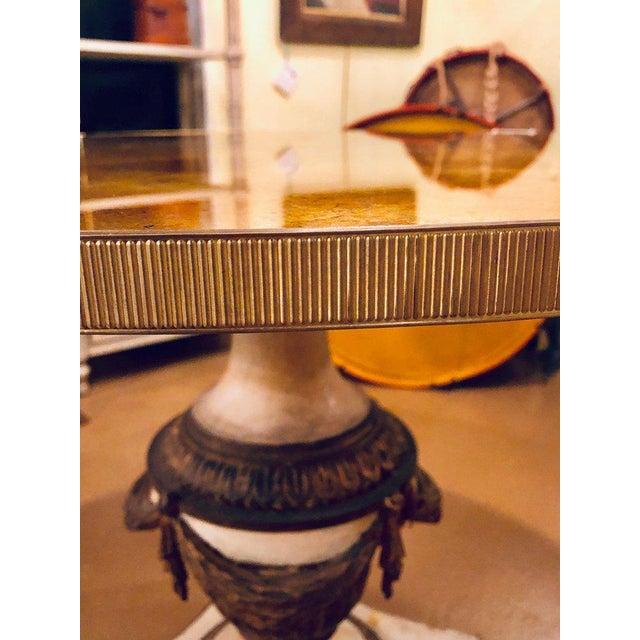 Antique Urn Form Base Verne Eglomise Center Glass Top Table For Sale - Image 4 of 13