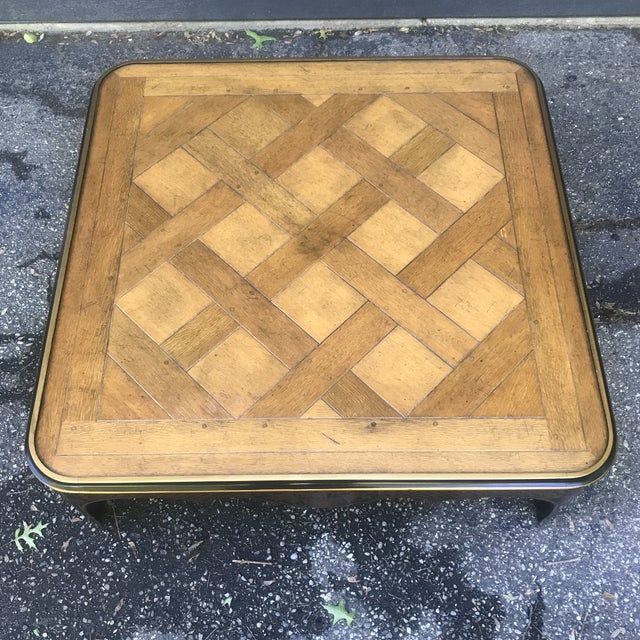 Art Deco Art Nouveau Ebonized and Stenciled Coffee Table For Sale - Image 3 of 12