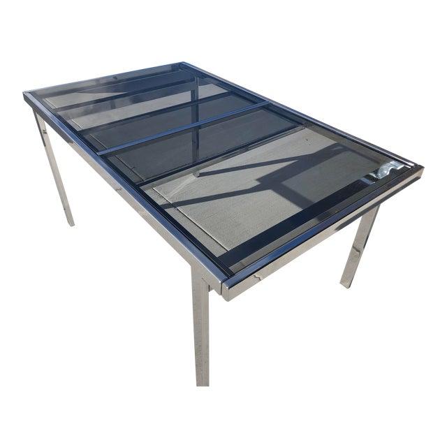 Milo Baughman for Dia Chrome Smoke Glass Dining Table For Sale