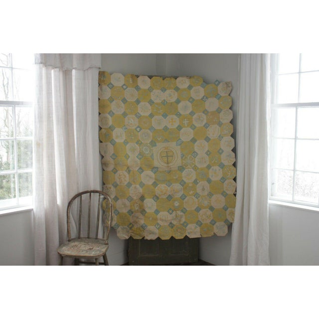 White Vintage English Ramsgate Heraldry Linen Embroidered Block Quilt For Sale - Image 8 of 12