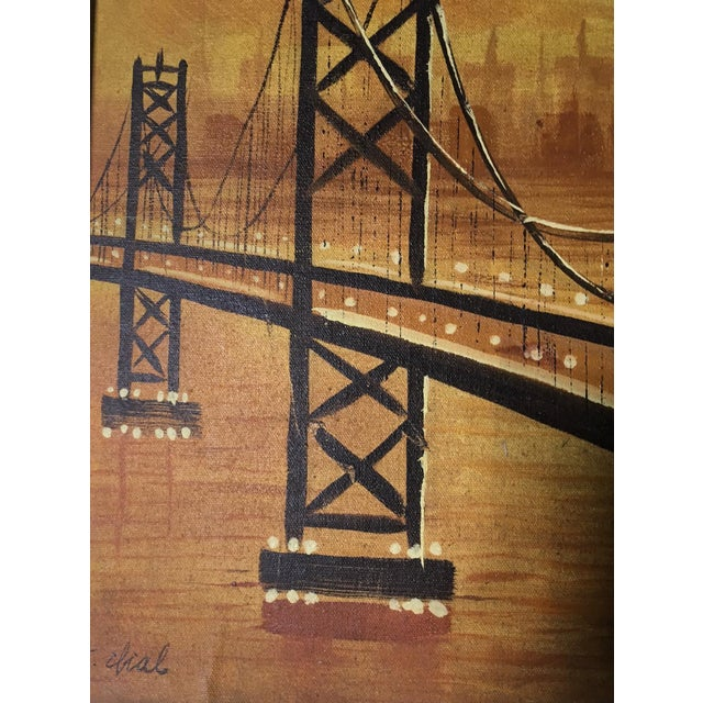 Vintage Mid-Century Suspension Bridge at Sunset Painting For Sale - Image 4 of 4