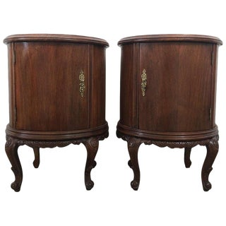 Pair of Round Art Deco Walnut Nightstands With Door and One Hidden Drawer For Sale