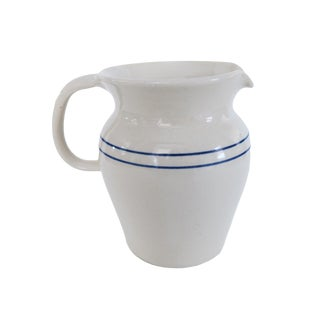 Vintage Yesteryears Pottery White and Blue Striped Crock Pitcher For Sale