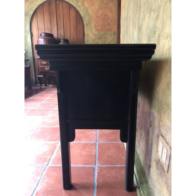 1990s 1990s Asian Century Furniture Black Lacquer Altar Console Table For Sale - Image 5 of 13