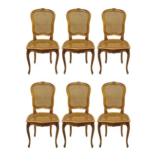 1950s French Provincial Cane Back & Seat Dining Chairs - Set of 6