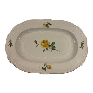 Early 1900s Meissen Yellow Rose Numbered Platter For Sale
