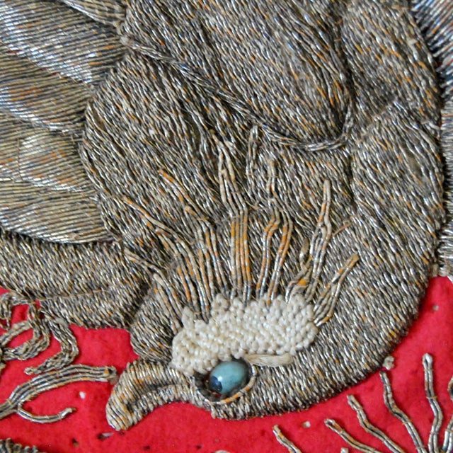 19th Century Antique Japanese Sumo Wrestler's Ceremonial Apron Kesho Mawashi With Golden Eagle For Sale - Image 4 of 7