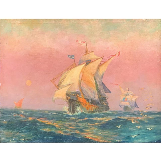 "Tall ship oil painting on canvas signed ""C. Freitas"". Beautiful painting of tall ships captured in the orange light of..."