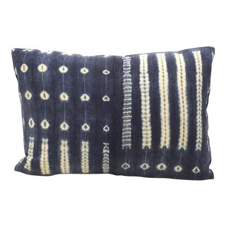 Vintage African Indigo Bolster Pillow For Sale