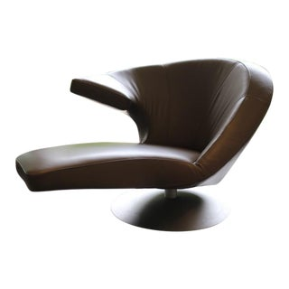Leolux Cantoni Parabolica Brown Leather Swivel Chaise