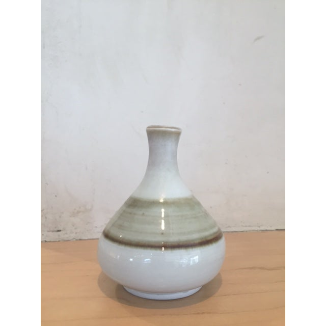 Mid-Century Modern White & Brown Bud Vase - Image 2 of 6