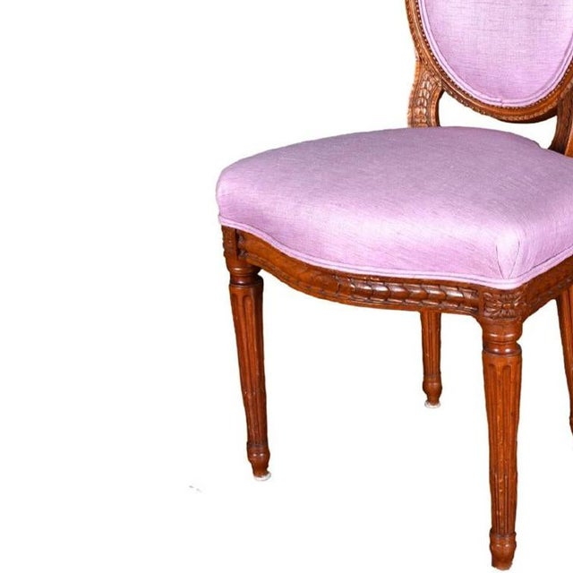 Louis XVI Pink Neoclassical carved wood dining chair set of 4 circa 19th Century France. Beautiful set of four carved wood...
