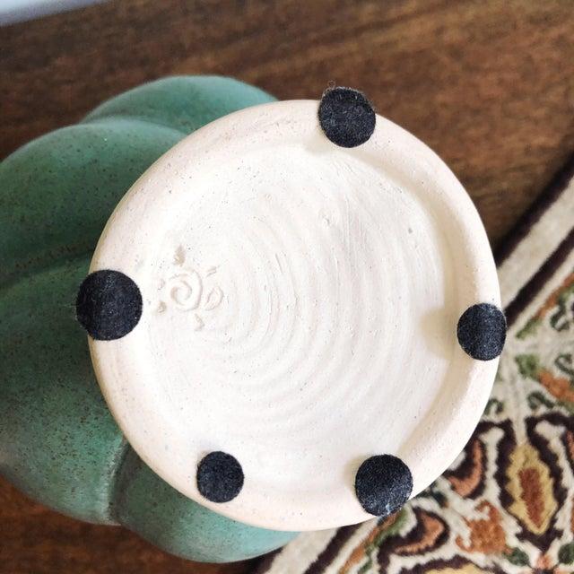 Vintage Studio Art Teal Stoneware Vase For Sale In Austin - Image 6 of 7