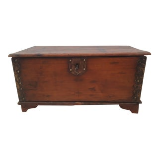 1960s Asian Brass Detailed Teak Chest For Sale